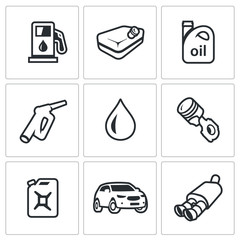 Vector Set of Fuel Icons. Petrol station, gasoline tank, Machine oil, filling pistol, piston engine, canister, car, exhaust pipe.