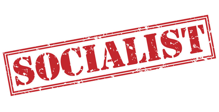socialist red stamp on white background