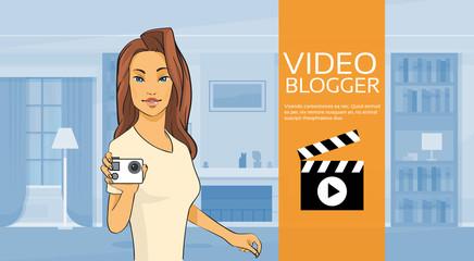 Woman Blogger Hold Camera Video Blog Concept Home Interior