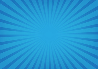 Sun rays vector, sunburst on blue color background.
