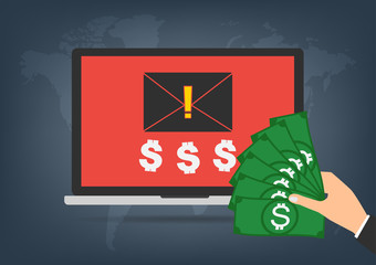 Computer laptop got blackmail ransom latter request money for paying importance data form businessman with banknote on world map background.
