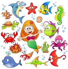 Big set of cute cartoon sea animals and mermaid