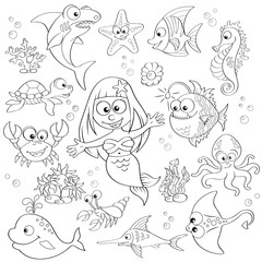 Big set of cute cartoon sea animals and mermaid. Black and white vector illustration for coloring book