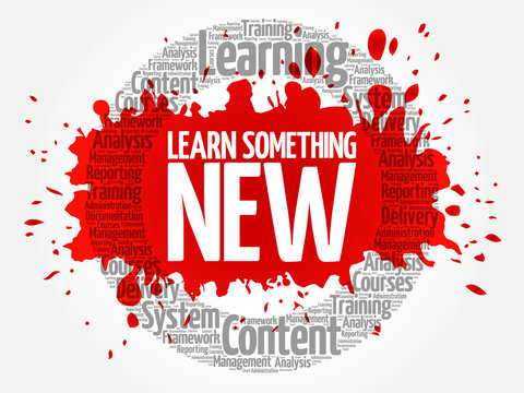 Learn Something New circle word cloud, business concept
