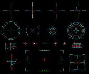 vector elements. Icons crosshairs. Neon sight. View target