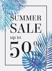 Summer sale up tu 50 per cent off. Web-banner or poster with wat