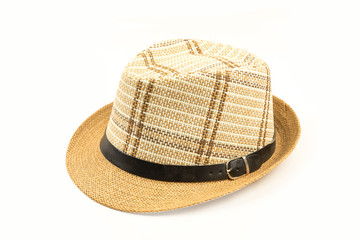 beautiful brown hat isolated on white background