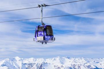 Cabin cableway ski resort of Meribel, France