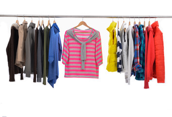 colorful shirt,clothes on a hanger