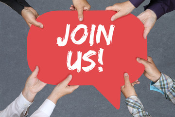 Group of people holding Join us participate invitation team spor