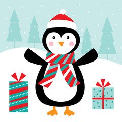 cute penguin and christmas