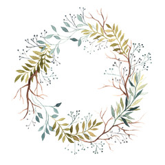 Round frame wreath with branches and berries vegetation. Hand-drawn watercolor illustration.