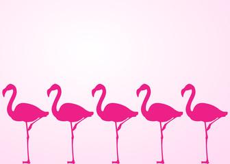Icono plano flamencos sobre fondo degradado rosa