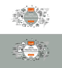 Data protection. Flat line color hero images and hero banners de