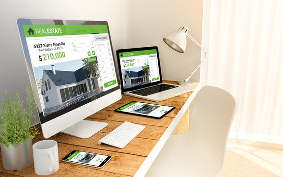 responsive web design concept in laptop, computer, tablet and sm