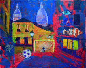 Abstract painting of the Montmartre in Paris
