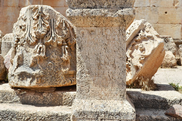 Ruins in Baalbek with roman inscription