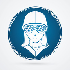 Pilot Face designed on grunge cycle background graphic vector
