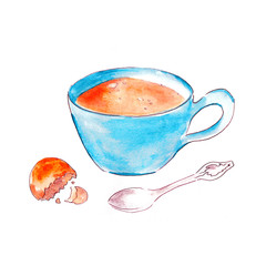 Blue Tea cup with cookie and a spoon watercolor illustration