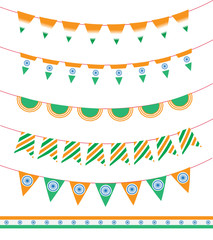 Happy India Independence Day. set of ribbon garland and flag. Vector illustration