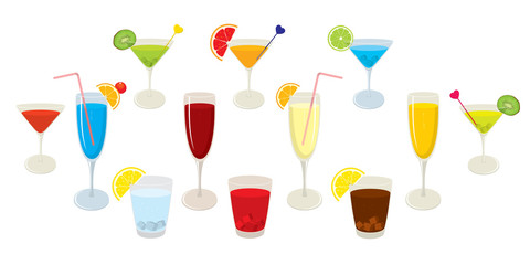 Vector collection of isolated, colourful alcohol cocktails and drinks. Vector illustration on white background.