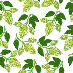 Hops plant seamless pattern, hand drawing style. Hops background. Hops wallpaper. Vector illustration