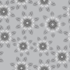 Floral seamless pattern , in the style of hand drawing. Black and white flowers. Vector illustration