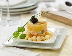 Causa rellena, typical dish from Peru.