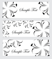 Floral banner set, in the style of hand drawing. Black and white flowers. Vector illustration