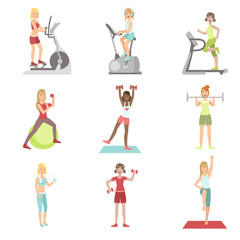 Women Training In Gym Set