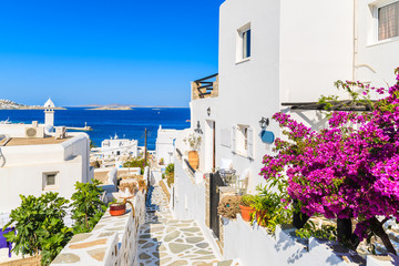 A view of whitewashed street with flowers in beautiful Mykonos town, Cyclades islands, Greece