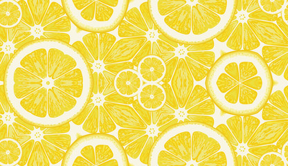 Seamless pattern from lemons. Vector background.