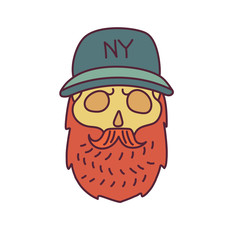 Skull with Hipster mustache,cap and beards
