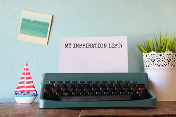 vintage typewriter with phrase: MY INSPIRATION LIST