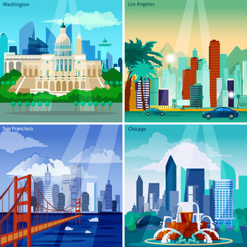 American Cityscapes Concept Icons Set