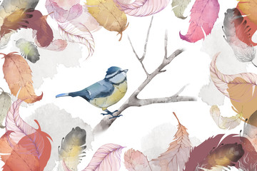 Creative Illustration and Innovative Art: Bird, Feather and Leaves, Water Color Style. Realistic Fantastic Cartoon Style Artwork Scene, Wallpaper, Story Background, Card Design