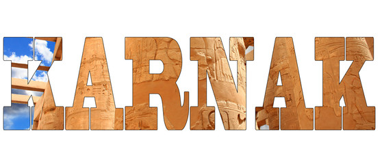 Karnak text with photo karnak temple isolated on white background.