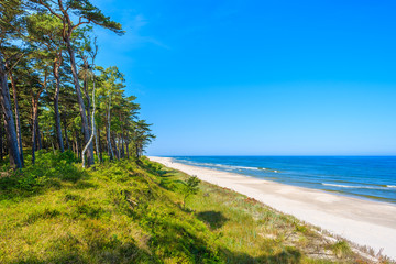 Fototapete - A view of beautiful sandy beach in Lubiatowo coastal village, Baltic Sea, Poland