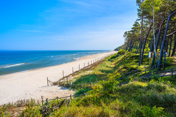 Path from forest to beautiful sandy beach in Lubiatowo coastal village, Baltic Sea, Poland Wall mural
