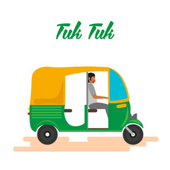 Indian motor rickshaw car. Indian tuk tuk. Vector illustration