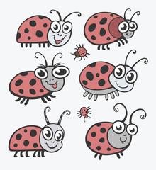 Set of vector icons ladybug. flat illustration for your design