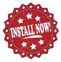 install now! grunge stamp