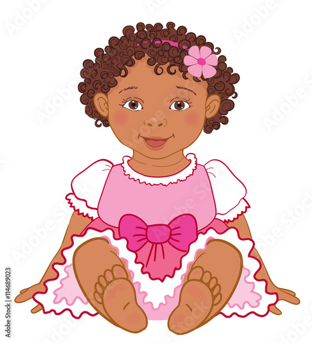 12fe96ff4 Cute African American baby girl in pink dress Happy princes Vector ...