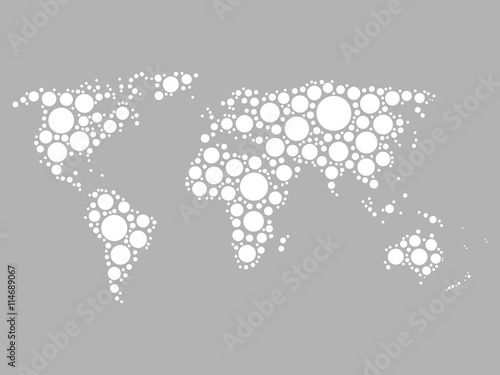 World map mosaic of white dots in various sizes on grey background world map mosaic of white dots in various sizes on grey background vector illustration gumiabroncs Choice Image