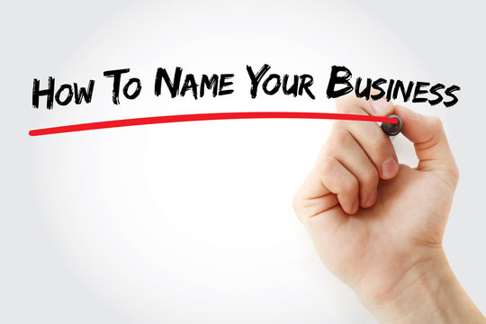 Hand writing How To Name Your Business with marker, concept background