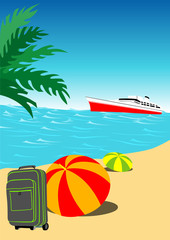 Summer Holiday Background - Colored Illustration, Vector