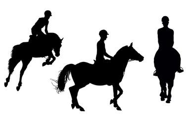 vector man on horseback isolated white background