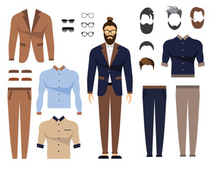 Man in office clothes, stylish uniform design. Set of Glasses, Hair Styles and Male Clothing. Flat Vector Illustration.