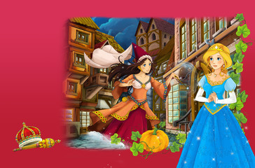 Cartoon scene with fairy tale princess and sorceress casting spell - manga girl - illustration for children