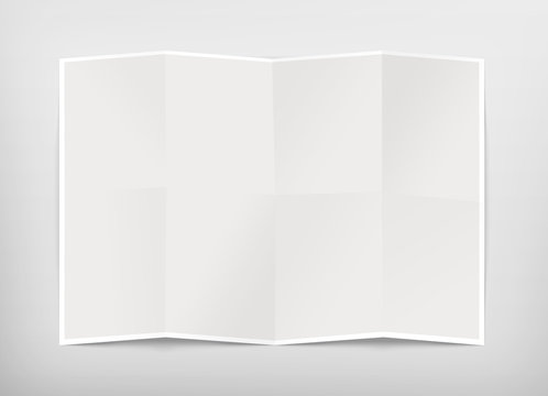 Blank chart design mockup, isolated, clipping path, 3d illustration. Folded map template mock up display. Clear draft plan paper sheet front view. Pattern diagram clear booklet. Clean map mockup.